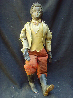 19th Century Composition Cloth Body Black Americana Marionette Puppet Doll