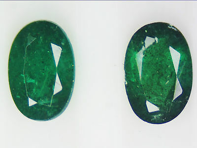 0.96 Ct 2 pcs Natural Zambian Emerald pair Green Oval Cut 6 x 4 mm for earring