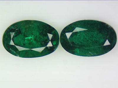 0.86 Ct 2Pc Natural Zambian Emerald Pair Green Oval Cut 6 X 4Mm Certified Loose