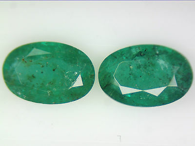 0.97 Ct 2 Pc Natural Zambian Emerald Pair Green Oval Cut 6 X 4Mm Certified Loose