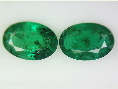 0.78 Ct 2 Pc Natural Zambian Emerald Pair Green Oval Cut 6 X 4Mm Certified Loose