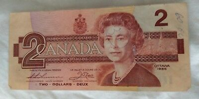 Canada 2 Two Dollar Banknote 1986
