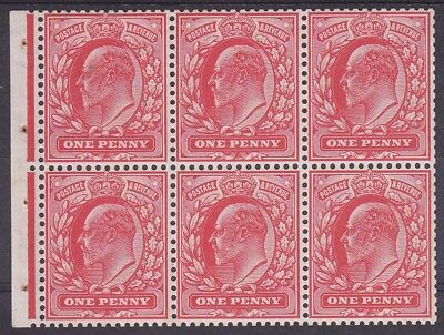 EDWARD VII 1d SCARLET BOOKLET PANE UNMOUNTED MINT GOOD PERFS
