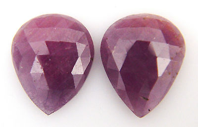 24.05 2 PC 15 x 19 MM 100% NATURAL RUBY GEMSTONE PAIR PEAR ROSE CUT SLICE RED