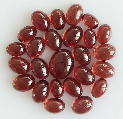 27.01 Ct 25 Pc Natural Garnet Orangy Red Oval Cabochon Loose Lot Gem Free Size