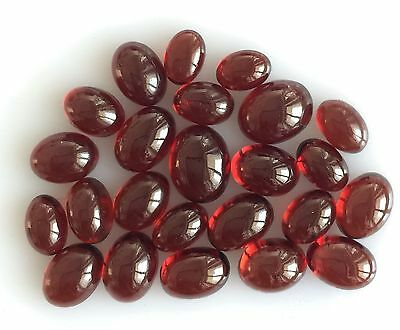 27.37 Ct 24 Pc Natural Garnet Orangy Red Oval Cabochon Loose Lot Gem Free Size