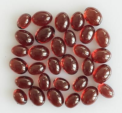30.63 Ct 31 Pc Natural Garnet Orangy Red Oval Cabochon Loose Lot Gem Free Size