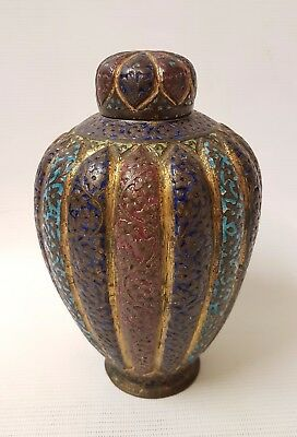 BEAUTIFUL 19th C  ANTIQUE PERSIAN ISLAMIC INDIAN KASHMIRI ENAMEL + GILT JAR
