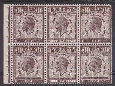 GEORGE V 1929 PUC 1½d BOOKLET PANE UNMOUNTED MINT