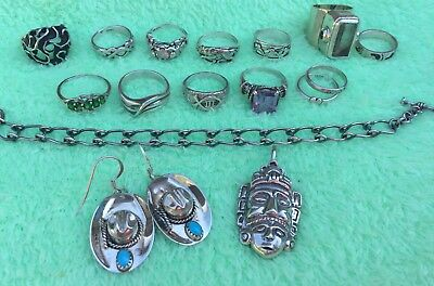 Vintage Sterling Silver Jewelry Lot, 12 Rings & More (107.5 Grams)