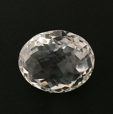 43.67 Ct Natural Crystal Quartz Oval Checker Cut White Colorless Loose Gem 20X24