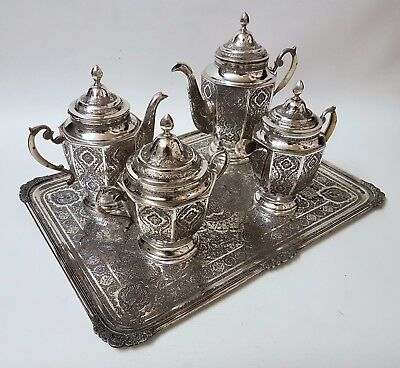 VERY FINE HAND CHASED ANTIQUE PERSIAN ISLAMIC SOLID SILVER SIGNED TEA SET 3238g