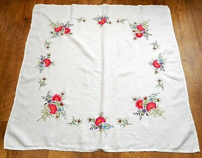 Vintage linen tablecloth Exquisite compact& raised hand embroidered flowers