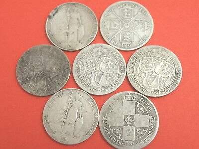 7 x SILVER FLORINS / TWO SHILLING COINS - 1866 1889 1894 1898 1907 1910