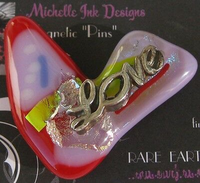 Fine Silver Love Heart Glass Needle Minder Magnet Michelle Ink Needlepoint PMC