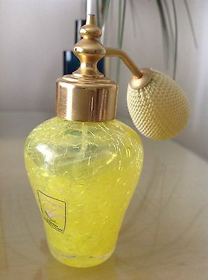 Caithness Perfume Atomiser Yellow with Yellow Swirls and Unusual Crackle Finish