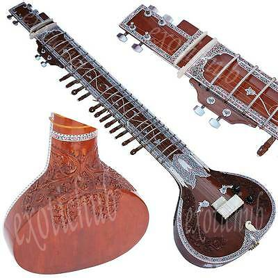 Sitar~Vilayat Khan Style~Yoga~Meditaion~Mizrab~Gig Bag~Strings~Hand Made Indian