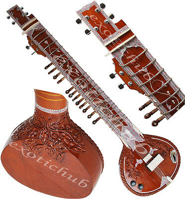 Sitar~Designer Tun Wood~Yoga~Bhajan~Gig Bag, Mizrabs, String~Hand Made Indian