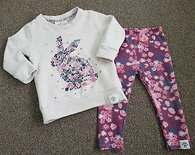 Mantaray Baby Girls Floral Bunny Leggings and Jumper Outfit Set 12-18 Months