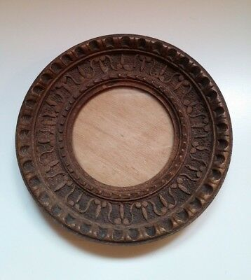 "Antique 19th Century Victorian Carved Wood Round Frame w Glass.  4"" in diameter"