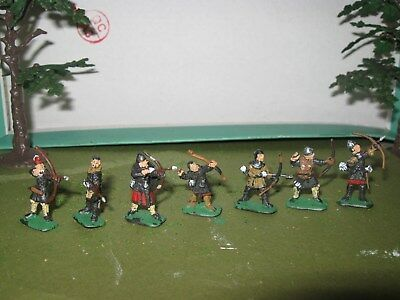 7 X Mediaeval Archers 1/72Nd Painted