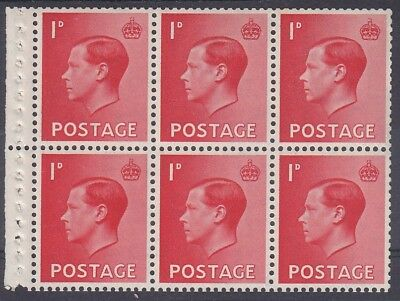 EDWARD VIII 1d BOOKLET PANE FINE UNMOUNTED MINT