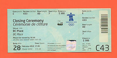 Orig.Ticket   Olympic Winter Games VANCOUVER 2010  -  CLOSING CEREMONY !! RARITY