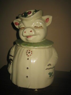 Vintage Shawnee Winnie the Pig Cookie Jar Roses Green Clover Shamrock