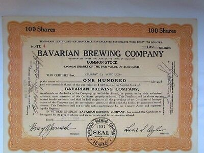 Bavarian Brewing Company 1933 Stock Certificate & IPO - Covington, KY