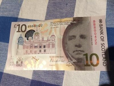 Rare Low Number New 2017 Bank Of Scotland Polymer £10 Note.