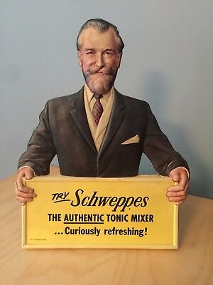Rare vintage Schweppes Tonic Mixer point of purchase advertising die cut man