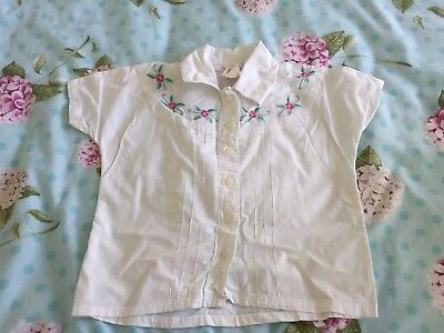 vintage child's short sleeve white cotton blouse embroidered  to fit age 3-4 yrs