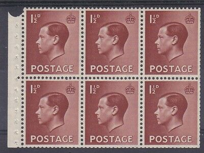 EDWARD VIII 1½d BOOKLET PANE E PERF. MOUNTED MINT