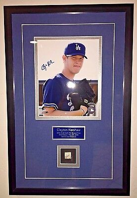 Clayton Kershaw Signed Auto Rookie Photo Debut Game Used Baseball COA Hologram