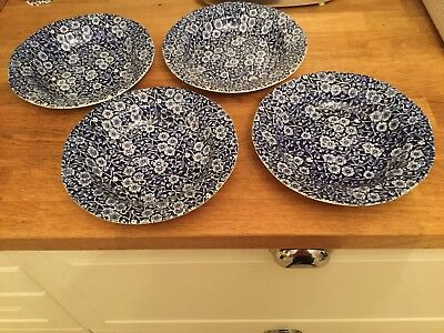 Burleigh Calico Dark Blue Dessert Or Small Soup Dish rimmed X 4