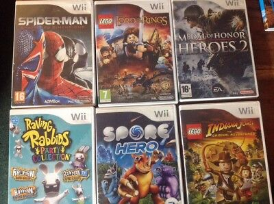 6 x Wii games: Indiana Jones, Lord of the Rings, Spore Hero, Spiderman, Rabbids