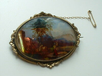 Victorian miniature painting in glazed brooch mounting