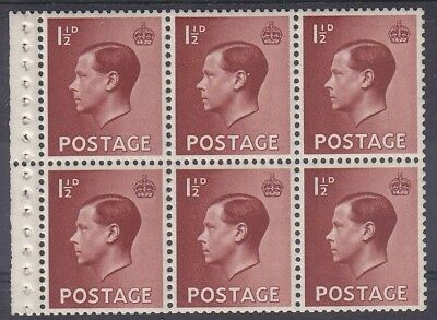 EDWARD VIII 1½d BOOKLET PANE FINE UNMOUNTED MINT
