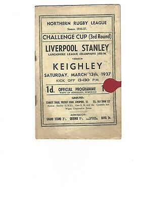1936/37 Pre-War LIVERPOOL STANLEY v KEIGHLEY 3rd Rd. Challenge Cup March 1937