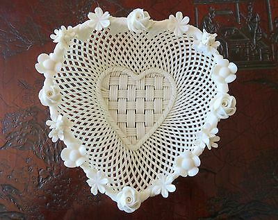 Vintage Belleek Four Strand Lattice Heart Basket Impressed Mark