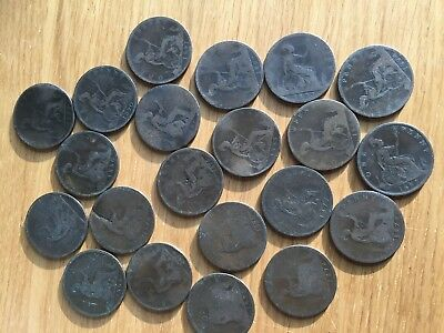 20 Victorian Bun head pennies all different, see listing for dates etc.