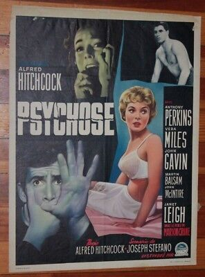 ALFRED HITCHCOCK PSYCHO Belgian Movie Poster  trimmed tape