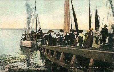 The Slip Ailsa Craig Large Crowd Disembarking Small Boats