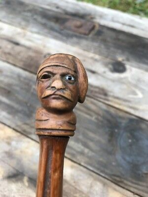 "33"" Antique BAMBOO WALKING STICK CANE FOLK ART Carved Pirates Head ONE EYE"