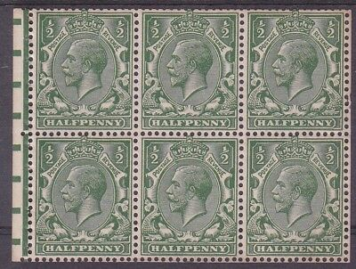 GEORGE V SIMPLE CYPHER ½d BOOKLET PANE U/M