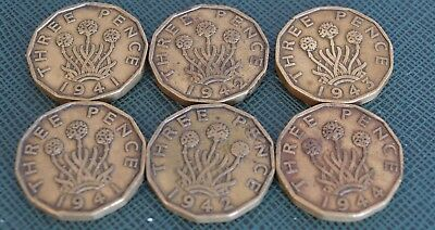 Lot 6 Wwii King George Vi Brass Three Penny Coins 1941-1944  -  Inc. Rare Dates