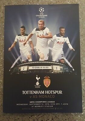 Tottenham v AS Monaco  Champions League 14 Sept 2016  Wembley with 2 xTeamsheets