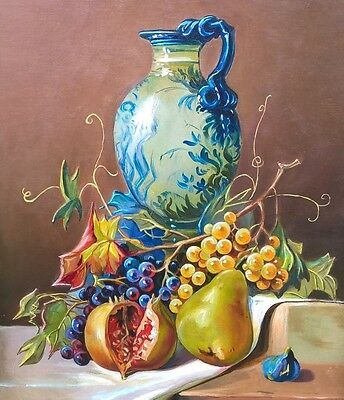Signed EE Smith 1910 ? Original Still Life Oil Painting on Canvas Fruit & vase 1