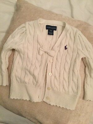 Ralph Lauren girls' white cardigan age 12 months