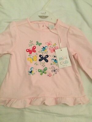 Boots Mini club girls long sleeve top pink age 3-6 months
